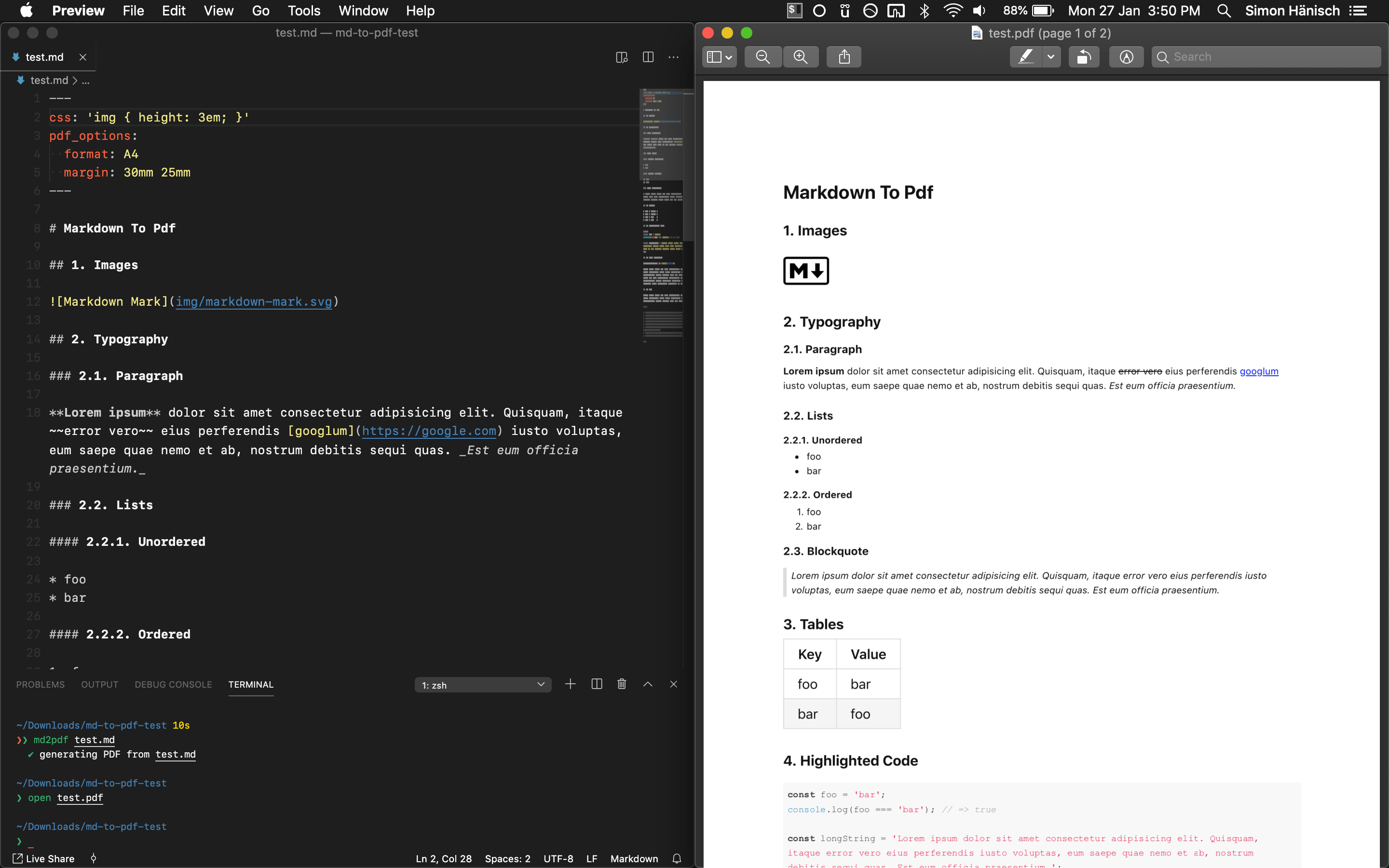 Screenshot of markdown file and resulting PDF